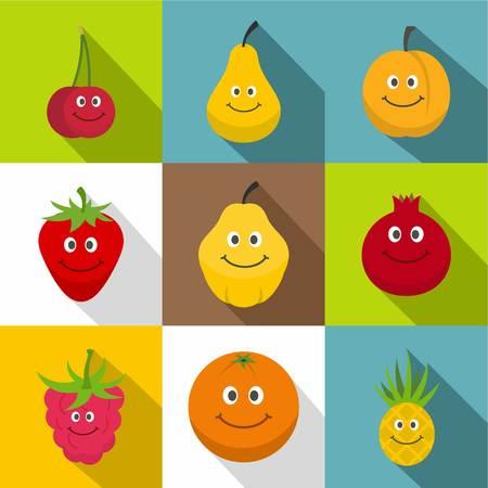 Happy smiling fruit icons set. Flat set of 9 happy smiling fruit vector icons for web with long shadow Ilustracja