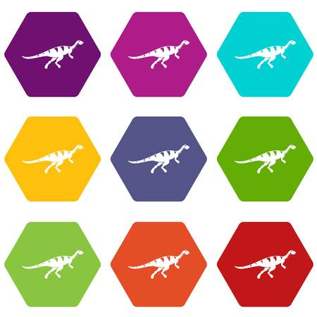 Gallimimus dinosaur icon set many color hexahedron isolated on white vector illustration Illustration