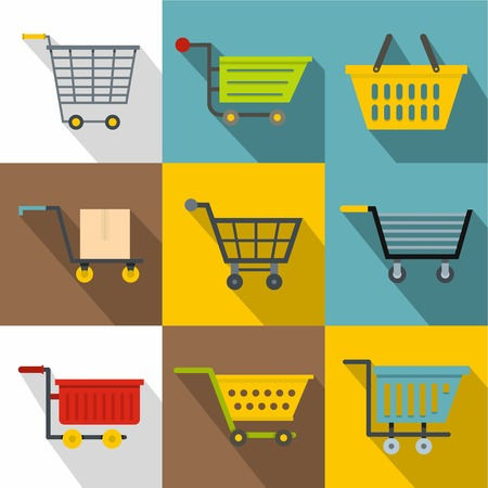 gift basket: Market cart icons set. Flatset of 9 market cart vector icons for web with long shadow