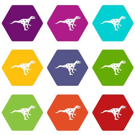 Ornithopod dinosaur icon set many color hexahedron isolated on white vector illustration