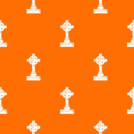 Irish celtic cross pattern repeat seamless in orange color for any design. Vector geometric illustration