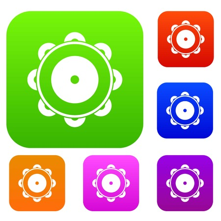 Tambourine set icon in different colors isolated vector illustration. Premium collection