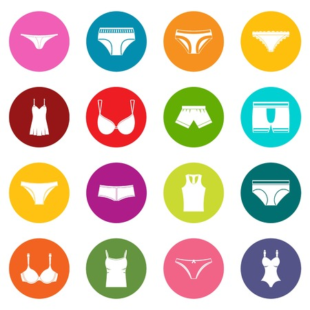 Underwear items icons many colors set