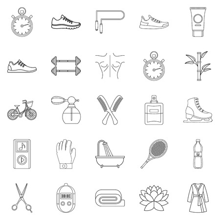 Soundness icons set, outline style