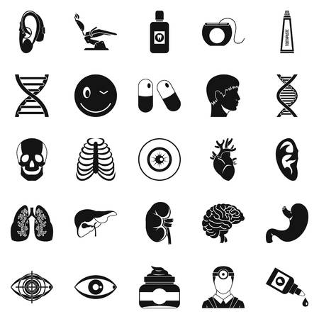 internist: Medical student icons set, simple style
