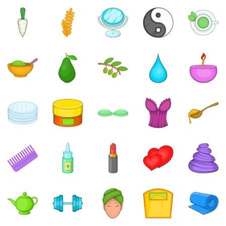 Ointment icons set, cartoon style Illustration