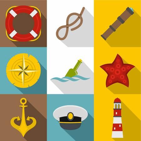 Sea captain icons set, flat style Illustration