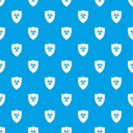 Shield with a biohazard sign pattern seamless blue Illustration