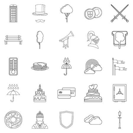 liverpool: Breakfast in bed icons set. Outline set of 25 breakfast in bed vector icons for web isolated on white background