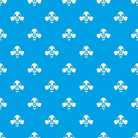 Black gas mask pattern repeat seamless in blue color for any design. Vector geometric illustration