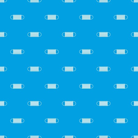 Disposable face mask pattern repeat seamless in blue color for any design. Vector geometric illustration