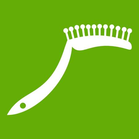 grooming: Pet comb icon white isolated on green background. Vector illustration Illustration