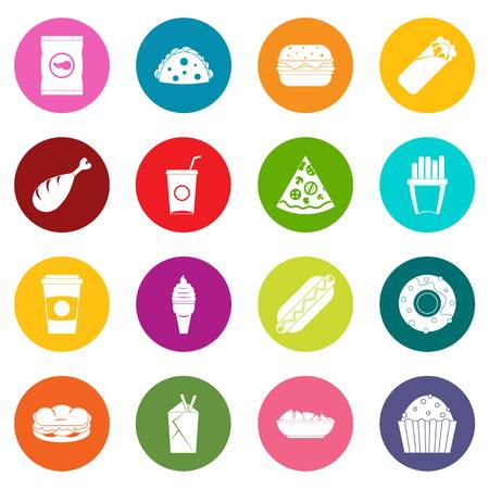 hot dog: Fast food icons many colors set isolated on white for digital marketing Illustration