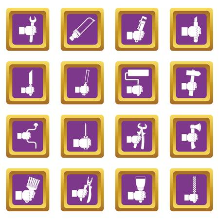 rasp: Hand tool icons set in purple color isolated vector illustration for web and any design Illustration