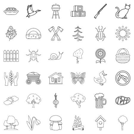 grille: Country icons set. Outline style of 36 country vector icons for web isolated on white background Illustration