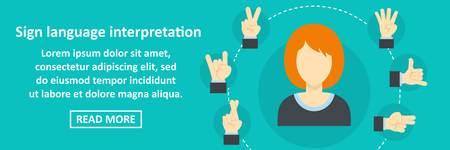 Concetto orizzontale dell'insegna di interpretazione di lingua dei segni. Illustrazione piana del concetto orizzontale di vettore dell'insegna di interpretazione di lingua dei segni per il web