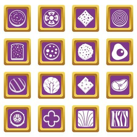 Scheibe Lebensmittel Zutat Icons Set in lila Farbe isoliert Vektor-Illustration für Web und alle Design Standard-Bild - 84405095