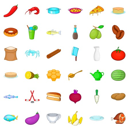 Cookery icons set. Cartoon style of 36 cookery vector icons for web isolated on white background