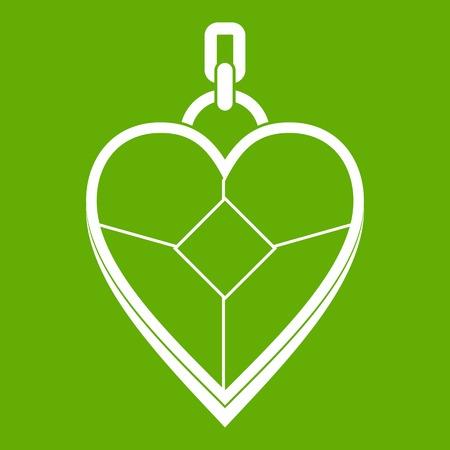 Heart shaped pendant icon green