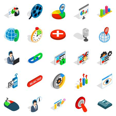 Information bureau icons set, isometric style Illustration