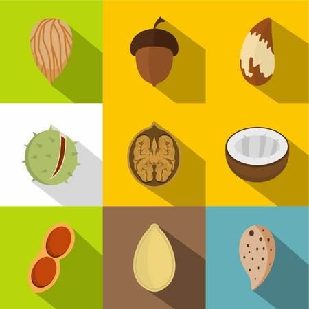 Tasty nuts icons set.