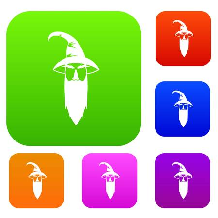 Wizard set icon in different colors isolated vector illustration. Premium collection