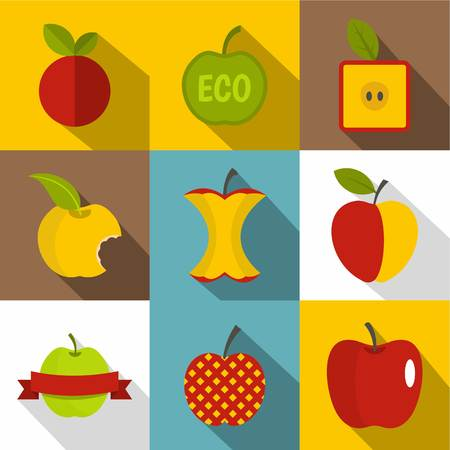 Different apple icons set. Flat set of 9 different apple vector icons for web with long shadow