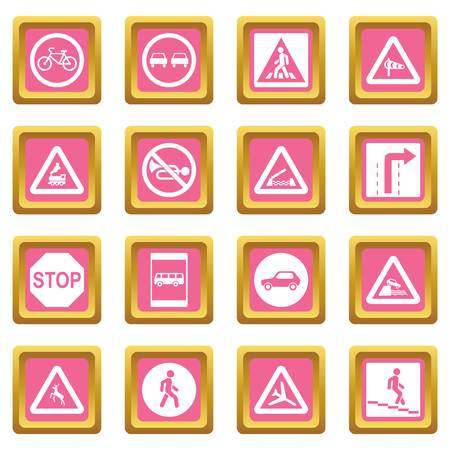 Road Sign Set icons set in pink color isolated vector illustration for web and any design Illustration