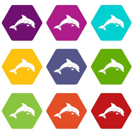 Jumping dolphin icon set many color hexahedron isolated on white vector illustration
