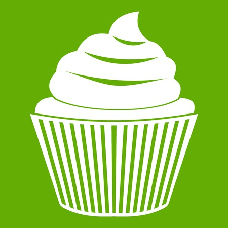 Cupcake icon white isolated on green background. Vector illustration