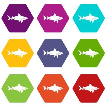Shark fish icon set many color hexahedron isolated on white illustration