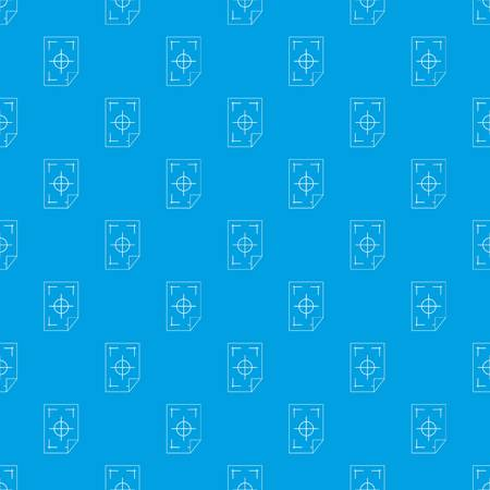 Printer marks on a paper pattern repeat seamless in blue color for any design. Vector geometric illustration