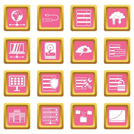 Database icons set in pink color isolated vector illustration for web and any design
