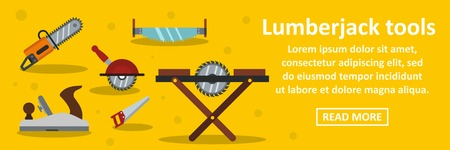 logging: Lumberjack tools banner horizontal concept. Flat illustration of lumberjack tools banner horizontal vector concept for web