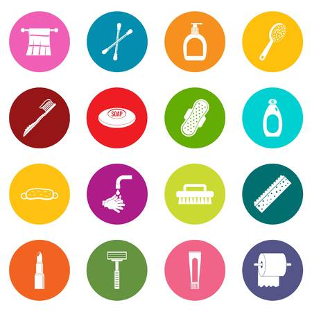 condones: Hygiene tools icons in many colors set for digital marketing