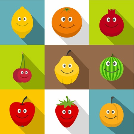 Fruit for kid icons set