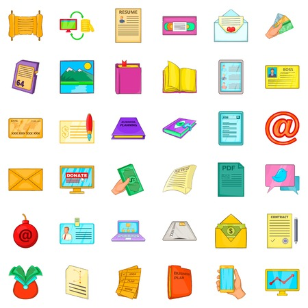 Paper icons set. Cartoon style of 36 paper icons for web isolated on white