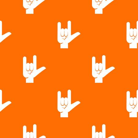 Rock gesture pattern repeat seamless in orange color for any design. Vector geometric illustration