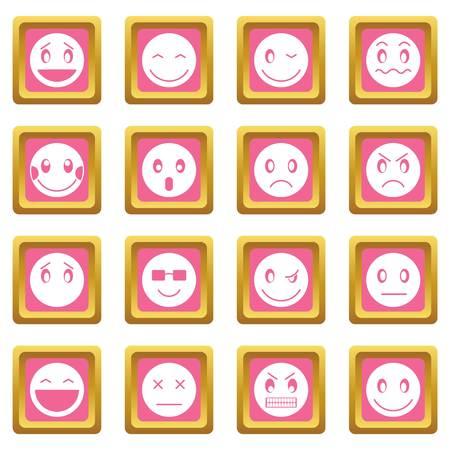 scheming: Emoticon icons pink illustration. Illustration