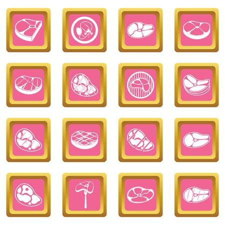 Steak icons pink