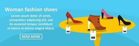 Woman fashion shoes banner horizontal concept. Flat illustration of woman fashion shoes banner horizontal vector concept for web