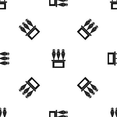 earthenware: Antique jugs pattern repeat seamless in black color for any design. Vector geometric illustration