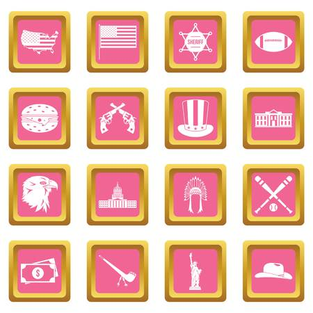 USA icons set in pink color isolated vector illustration for web and any design Illustration
