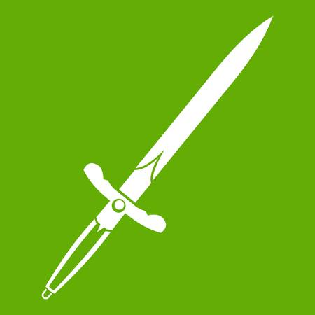 blade: Sword icon white isolated on green background. Vector illustration