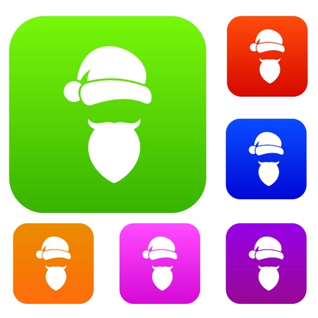 Santa Claus hat and beard set icon in different colors isolated vector illustration. Premium collection