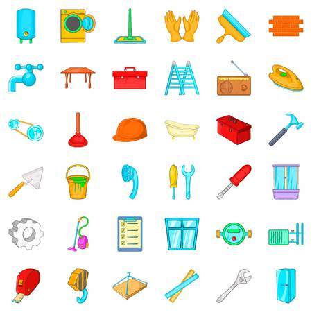 Flat renovation icons set. Cartoon style of 36 flat renovation vector icons for web isolated on white background