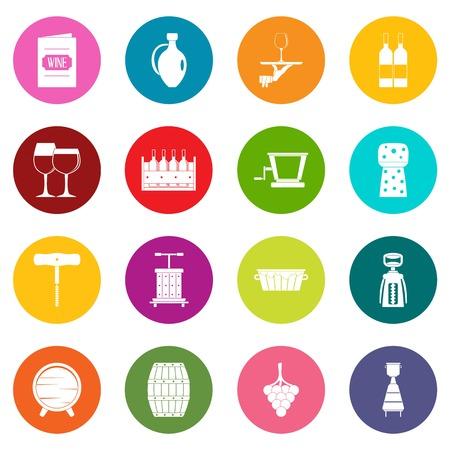 Wine icons many colors set isolated on white for digital marketing Illustration