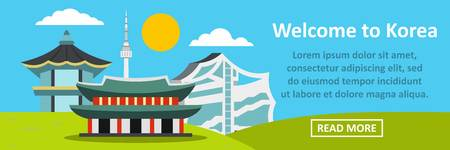Welcome to korea banner horizontal concept. Flat illustration of welcome to korea banner horizontal vector concept for web