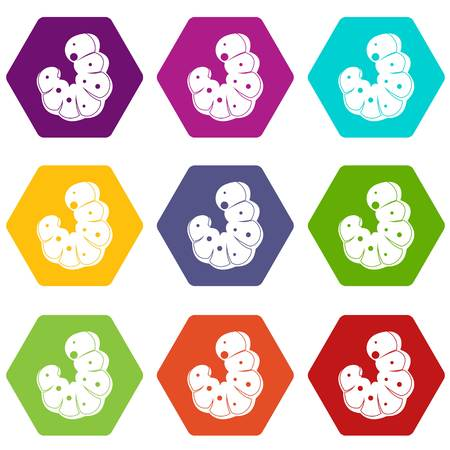 Worm icon set many color hexahedron isolated on white vector illustration