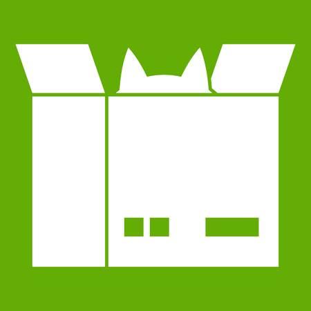 緑の背景に分離された白い段ボール箱アイコンの猫。ベクトル図  イラスト・ベクター素材